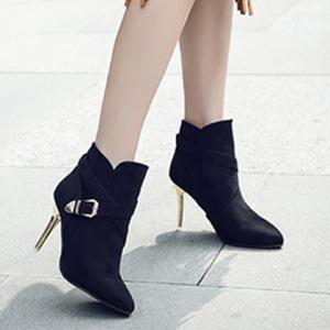 Pointed Toe  Buckle Strap Stiletto Heel Boots -