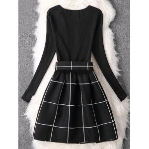 Long Sleeve Plaid Flare Dress - BLACK XL