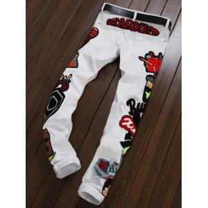 Zipper Fly Figure Embroidered Appliques Jeans -