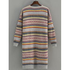 Pocket Design Stripe Jacquard Cardigan - GRAY ONE SIZE