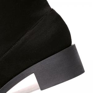 Flock Chunky Heel Pointed Toe Thigh Boots -