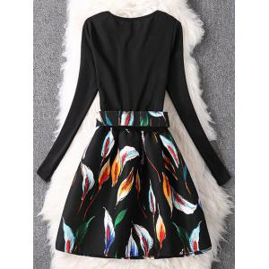 Long Sleeve Colorful Petal Graffiti Flare Dress -