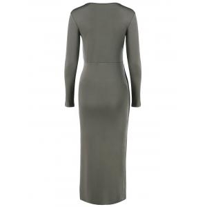 V-Neck Asymmetrical Sheath Long Sleeve High Low Slimming Dress -