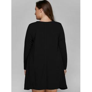 Long Sleeve Plus Size Mini Dress - BLACK 5XL