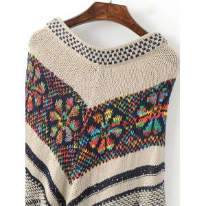 Jacquard Fringe Cape Sweater -