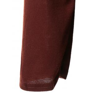 Long Sleeve Plain Slimming Dress - DEEP RED XL