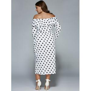 Plus Size Off Shoulder Long Sleeve Polka Dot Midi Dress - WHITE 2XL