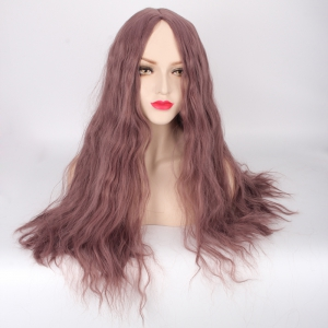 Long Fluffy Middle Part Slightly Curled Lolita Cosplay Synthetic Wig - DARK APRICOT