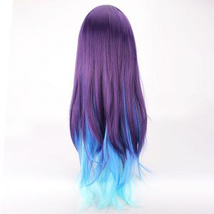 Long Side Bang Straight Violet Sky blue Mixed Lolita Cosplay Synthetic Wig -