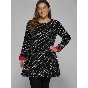 Long Sleeve Geometric Plus Size Dress - BLACK 4XL