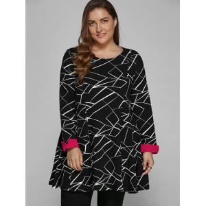 Long Sleeve Geometric Plus Size Dress -