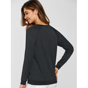 Tower Pattern Hollow Out Sweatshirt - BLACK XL