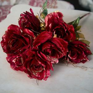 Handmade Simulation Artisanat artificielle Fleur Rose - Rouge