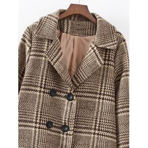 Double-Breasted Plaid Woolen Overcoat -