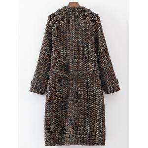Belted Plaid Woolen Overcoat -