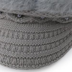 Warm Faux Pearl Embellished Faux Fur Angora Newsboy Hat -
