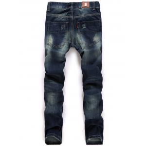 Straight Leg Broken Hole Design Jeans -