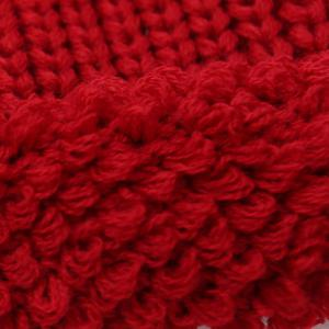 Winter Casual Label Double-Deck Crochet Thicken Knit Triangle Hat - RED