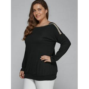 Plus Size Top Long Sleeve Blouse - BLACK 4XL