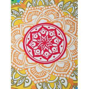 Round Lotus Print Tasseled Beach Throw -