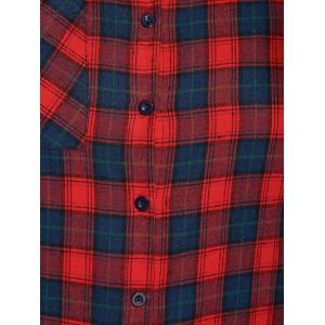Plus Size Thick Plaid Flannel Shirt - RED 3XL