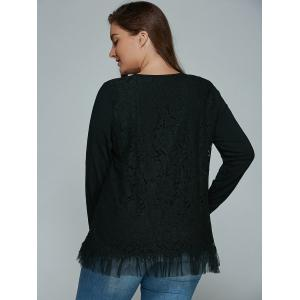 Plus Size Lace Spliced Top Long Sleeve Blouse - BLACK 4XL