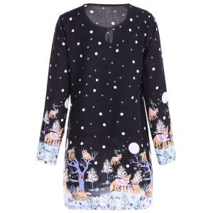 Plus Size Polka Dot Cartoon Print Dress - BLACK 4XL