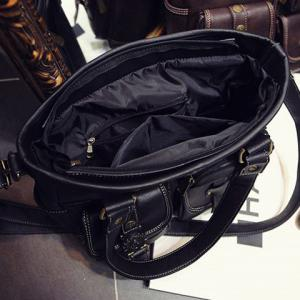 Stitching Pockets Dark Colour Shoulder Bag - BLACK