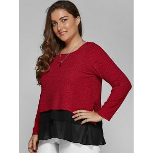 Plus Size Long Sleeve Chiffon Spliced Blouse - DEEP RED 4XL