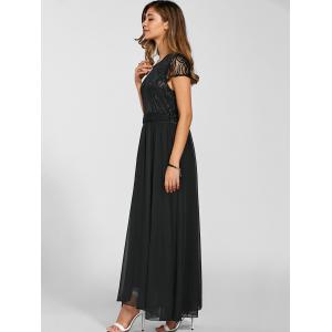 Maxi Lace Top Chiffon Prom Formal Dress - BLACK XL