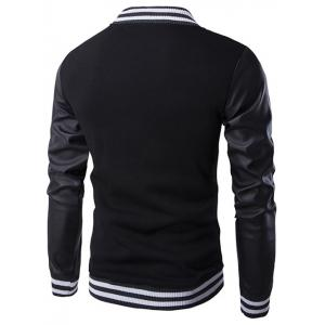 Faux Leather Insert Varsity Striped Button Up Jacket -