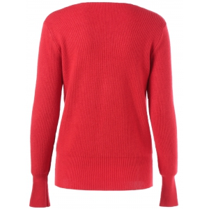 V Neck Ribbed Button Embellished Sweater -