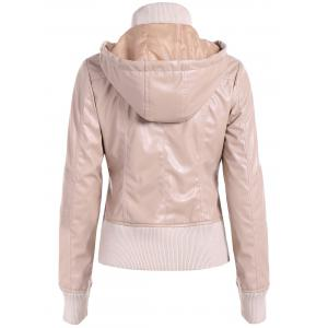 Warm Drawstring Pocket Hooded PU Biker Jacket -