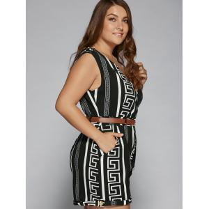 Pockets Design Graphic Plus Size Romper -