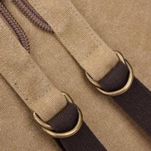 Canvas Drawstring Zippers Backpack -