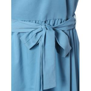 Fit and Flare Belted Back Button Sleeveless Dress -