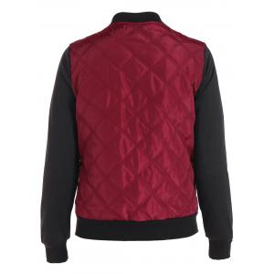 Padded Two Tone Quilted Bomber Jacket - RED L
