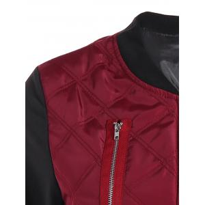 Padded Two Tone Quilted Bomber Jacket - RED XL