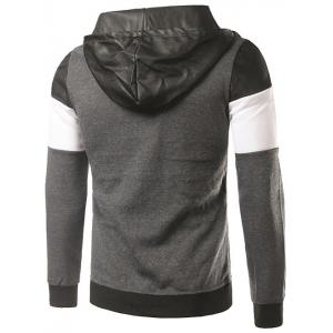 PU-Leather Spliced Hooded Color Block Zip-Up Hoodie - DEEP GRAY 2XL