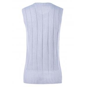 Sleeveless Openwork Ribbed Knitwear -