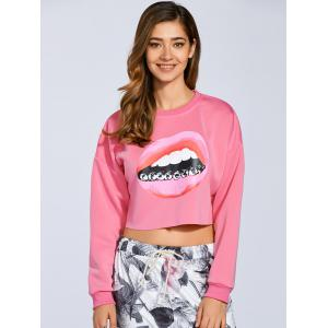 Cropped 3D Lip Print Sweatshirt - SHALLOW PINK M