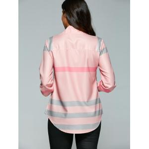 V Neck Color Block Tunic Blouse - PINK XL