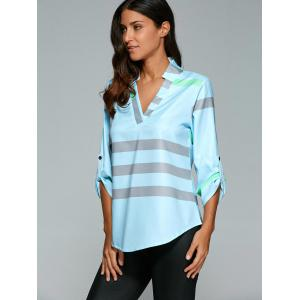 V Neck Color Block Tunic Blouse - LIGHT BLUE XL