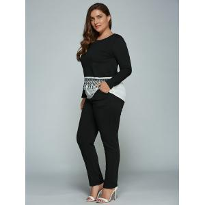 Plus Size Long Sleeve Fringed T-Shirt + Pants -