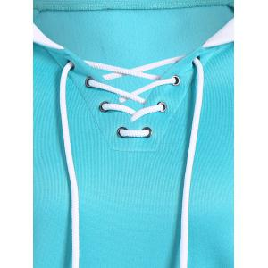 Autumn Criss-Cross Drawstring Pullover Hoodie - AZURE S