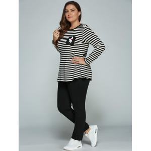 Plus Size Long Sleeve Striped Outfits - BLACK 4XL