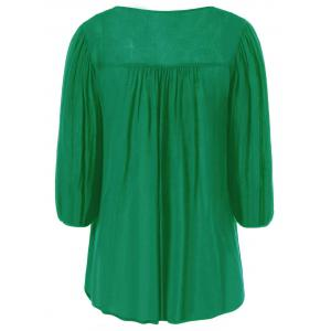 Floral Embroidered Maxican Peasant Blouse - GREEN XL