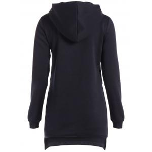 Autumn Side Slit Zipper Long Pullover Hoodie - BLACK M