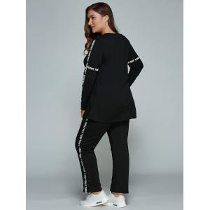 Casual Plus Size Long Sleeve Letter Print T-Shirt + Pants - BLACK 4XL