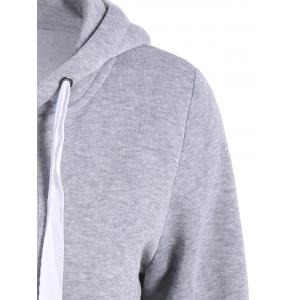 Autumn Wide Drawstring Zipper Up Hoodie - GRAY L